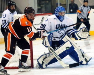 Matt Larose stopped 44 shots in UAH's 4-1 loss to Bowling Green on Saturday. (Photo by Chris Brightwell)