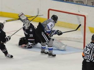 Hans Gorowsky makes it 5-2 UAH in the Chargers' win vs. UConn (Photo by UAH Athletics)