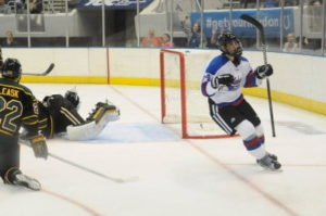Brennan Saulnier scores UAH's second goal against Anchorage on Friday. (UAH Athletics/Doug Eagan)