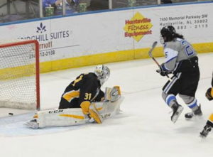 Adam Wilcox scored a goal in each game against Colorado College. (Photo by UAH Athletics/Doug Eagan)