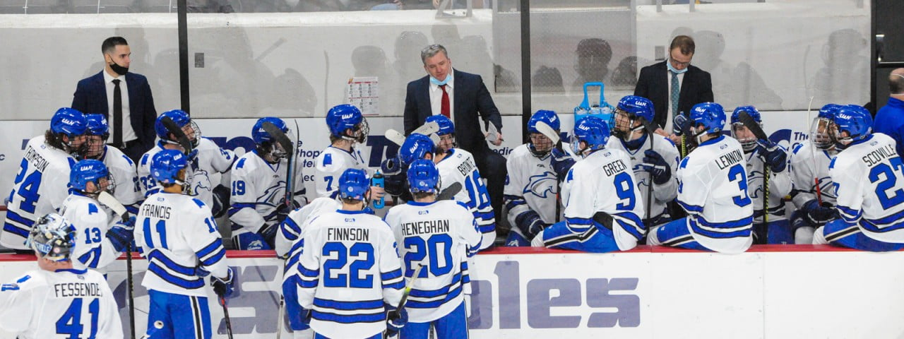UAH hockey bench during timeout